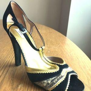 Black/Gold  Satin Snakeskin Heels size 10/eu 40